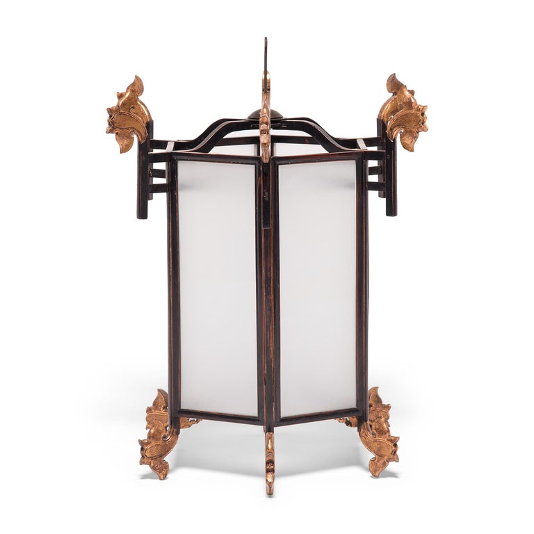 Frosted 19th Century Chinese Lantern with Gilt Lotus Finials For Sale