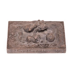 Chinese Stone Shoemaker's Weight with Mother, Cub, and Embroidered Ball
