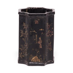 19th Century Chinese Black Lacquer and Gilt Brush Pot