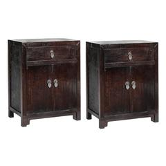 Pair of 19th Century Chinese Petite Walnut Cabinets