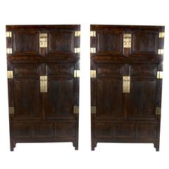 Pair of 19th Century Chinese Compound Cabinets