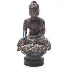 Early 19th century Carved Seated Sakyamuni on Lotus