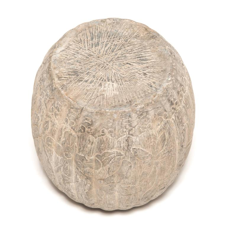 Pair Of Floral Etched Melon Shape Limestone Drum For Sale