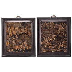 """Palace Park"" a Pair of Chinese Gilt Painted Panels"