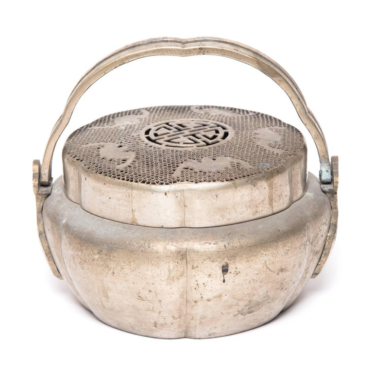 Qing Chinese Five Blessings Brass Brazier, c. 1850 For Sale