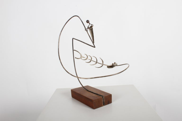 Paul A. Lobel Sterling Fisherman Kinetic Sculpture For Sale