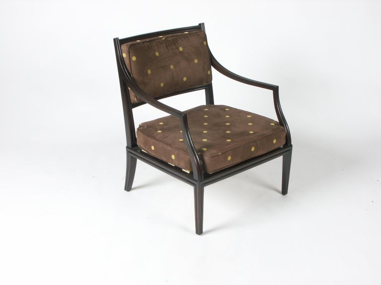 Edward Wormley for Dunbar lounge chair. Model number 6309, part of the Today and Tomorrow collection, circa 1963. Beautiful channeled mahogany frame with ultra suede seat and back cushions. Newly upholstered in chocolate brown ultrasuede with dijon