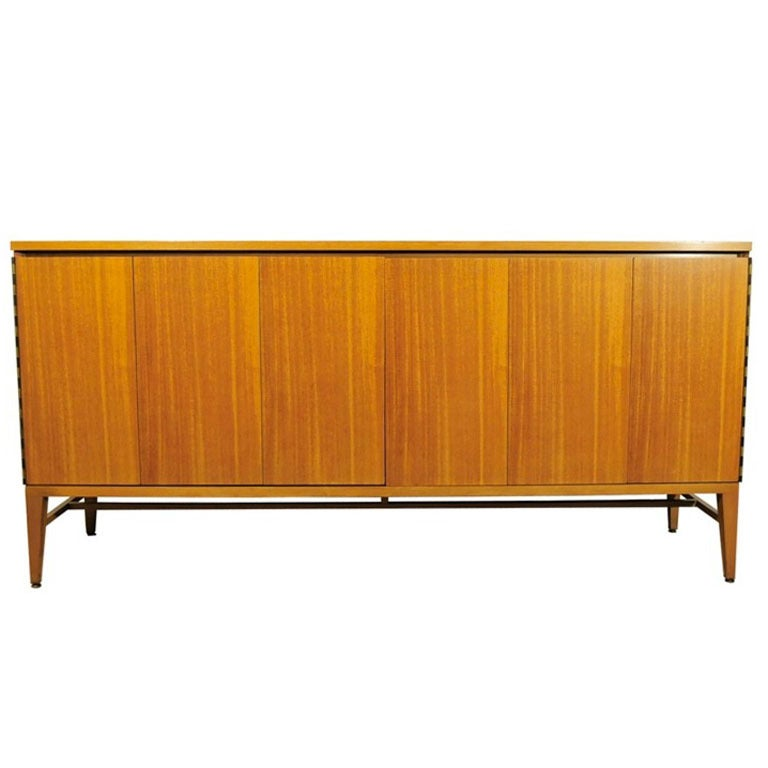 Paul McCobb Bleached Mahogany Accordion Doors Sideboard, Refinished to Order For Sale