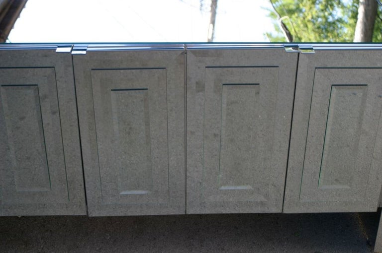 American 1970s Hollywood Regency Ello Mirrored Credenza with Polished Chrome Clad Sides