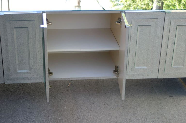 Late 20th Century 1970s Hollywood Regency Ello Mirrored Credenza with Polished Chrome Clad Sides