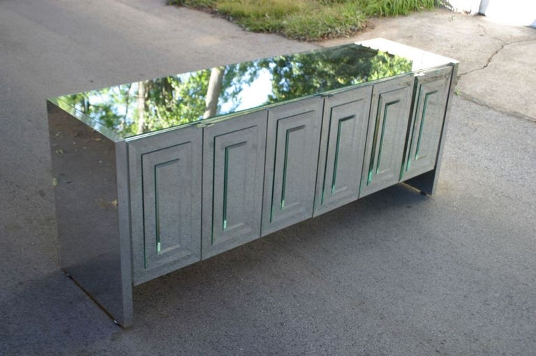 Stainless Steel 1970s Hollywood Regency Ello Mirrored Credenza with Polished Chrome Clad Sides