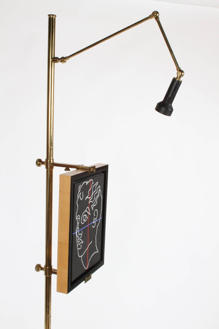 Mid-Century Modern Arredoluce Brass Art Easel with Lamp by Angelo Lelli For Sale