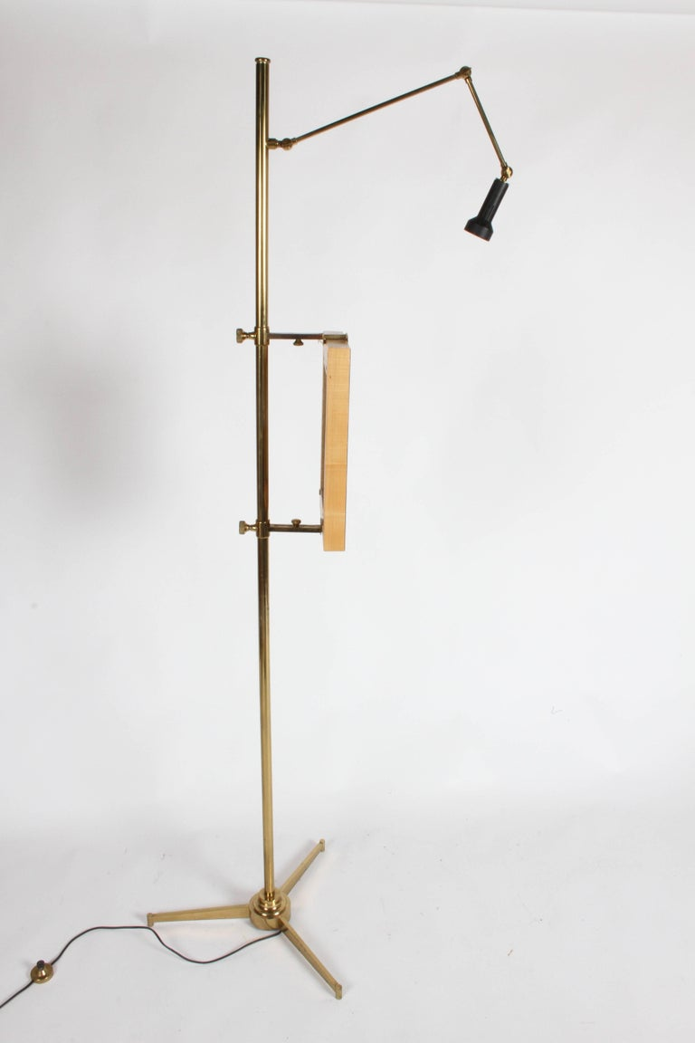 Arredoluce Brass Art Easel with Lamp by Angelo Lelli For Sale 1