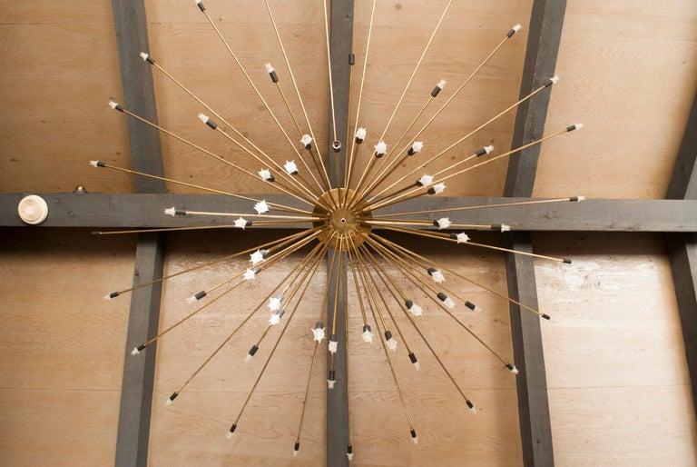 Mid-Century Modern Monumental Scale 60-Arm Brass Midcentury Sputnik Chandelier For Sale