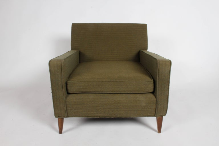 Pair of Mid-Century Modern Paul McCobb for Planner Group single club chair. Vintage fabric, foam is good, but should be updated when you reupholster. Legs to be refinished prior to shipping. Inquire for re-upholstery cost. Also, forgot back pillow