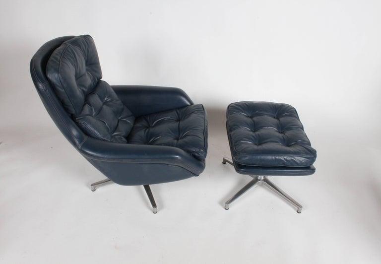 Midcentury DUX Form 7 Swivel Lounge and Ottoman Des. Alf Svensson For Sale 3