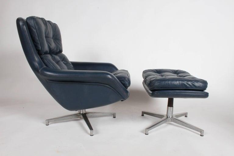 Midcentury DUX Form 7 Swivel Lounge and Ottoman Des. Alf Svensson For Sale 2