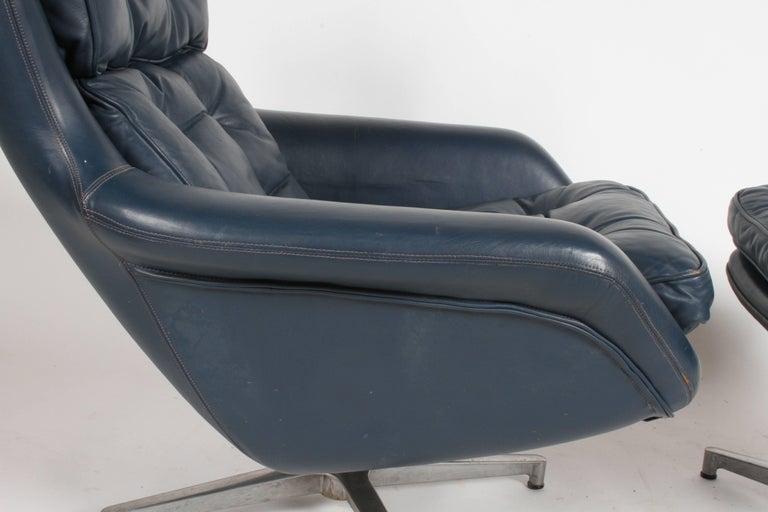 Midcentury DUX Form 7 Swivel Lounge and Ottoman Des. Alf Svensson For Sale 5