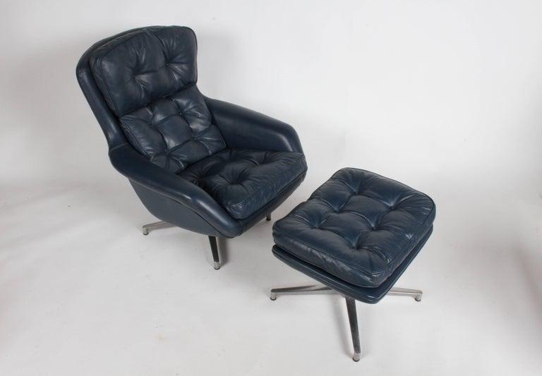 Leather Midcentury DUX Form 7 Swivel Lounge and Ottoman Des. Alf Svensson For Sale