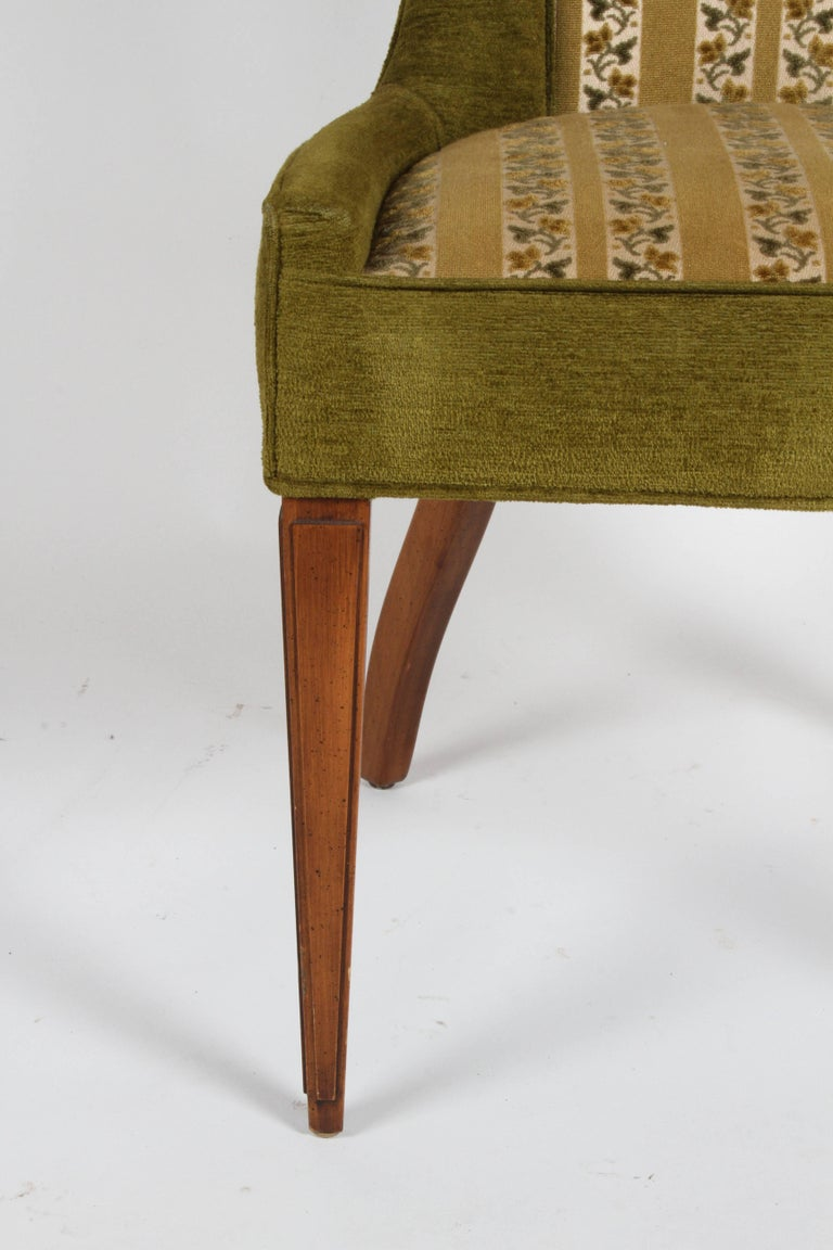 Pair of high back Mid-Century Modern dining or occasional chairs in the Hollywood Regency style. Vintage upholstery, all original. Measure: Seat 19