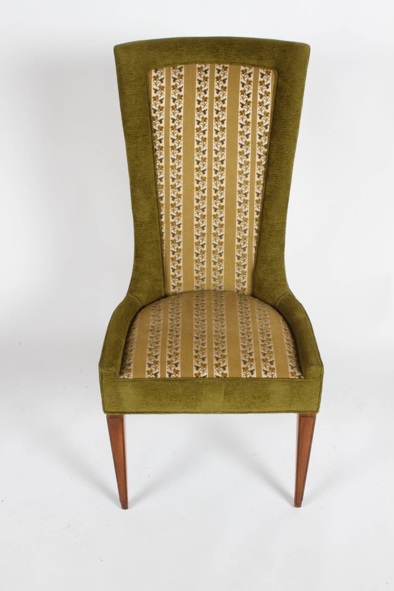 American Pair of High Back Hollywood Regency MCM Dining Chairs For Sale