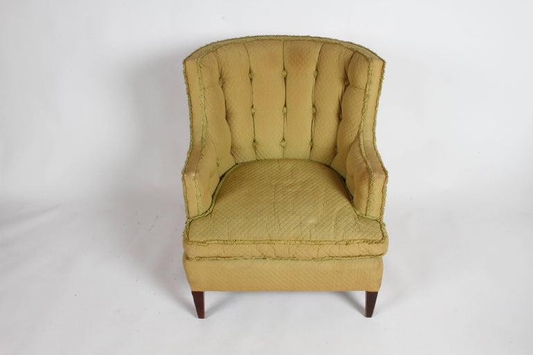 Looking for a Project ? Here are a pair of stylish 1940s tufted wingback or barrel back club / lounge chairs. All original, solid quality American made chairs, in need of reupholstry and refinshing. Please inquire if you would like a quote on