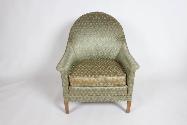Neoclassical style spoon back occasional or lounge chair by Romweber. All original , needs new foam in seat, slight discoloration to front of seat. Mid-Century Modern.  Label: Chair No. M. 785  Seat 18