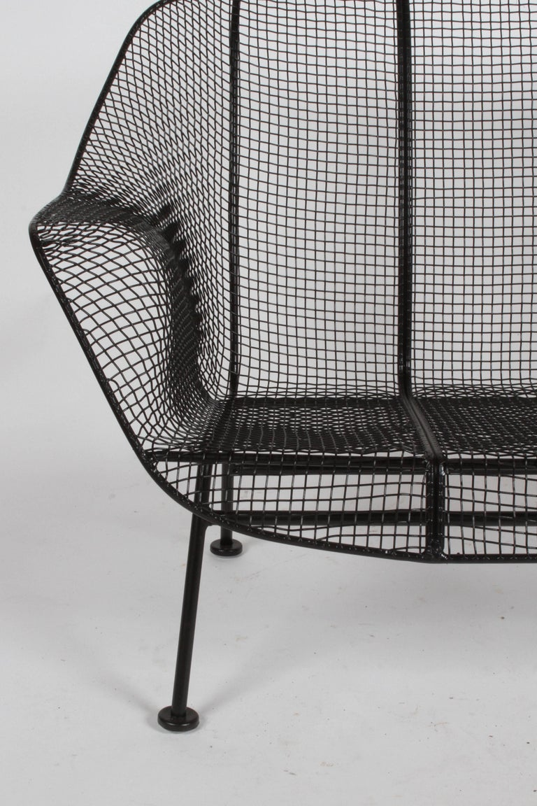 Painted Russell Woodard Sculptura Wrought Iron Settee, Restored For Sale