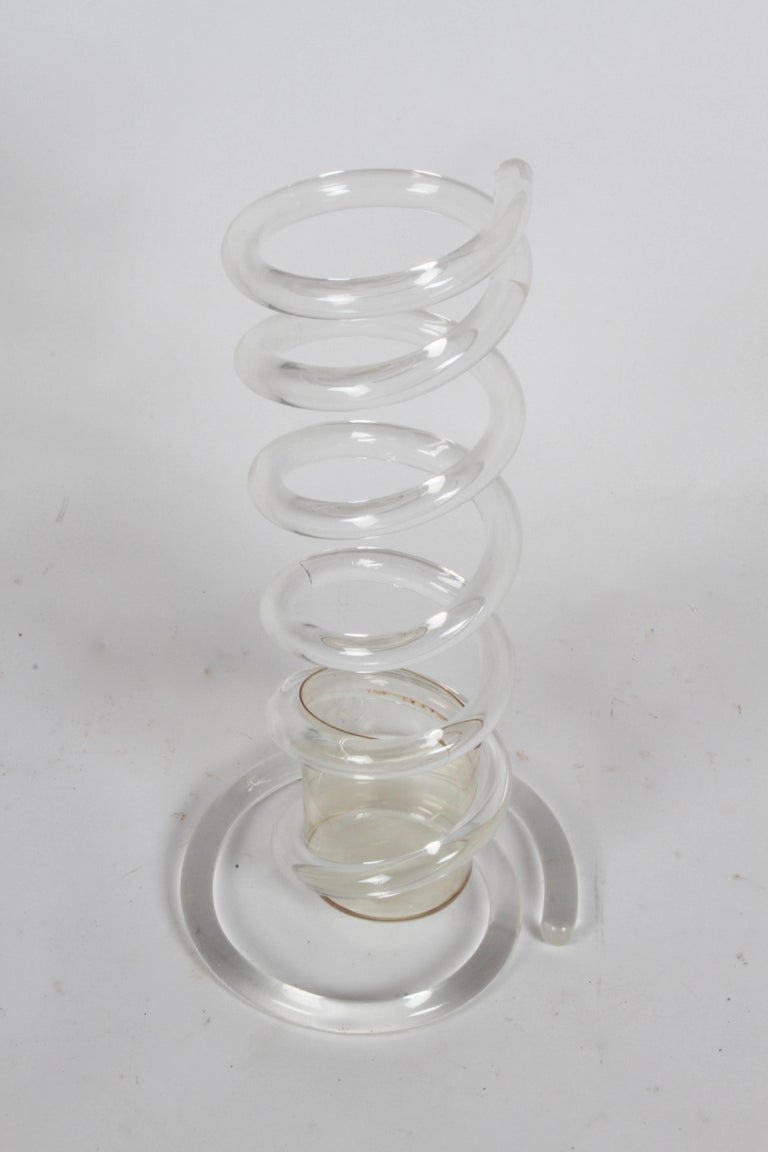 Hollywood Regency Dorothy Thorpe Style Lucite Coil Cane or Umbrella Stand For Sale