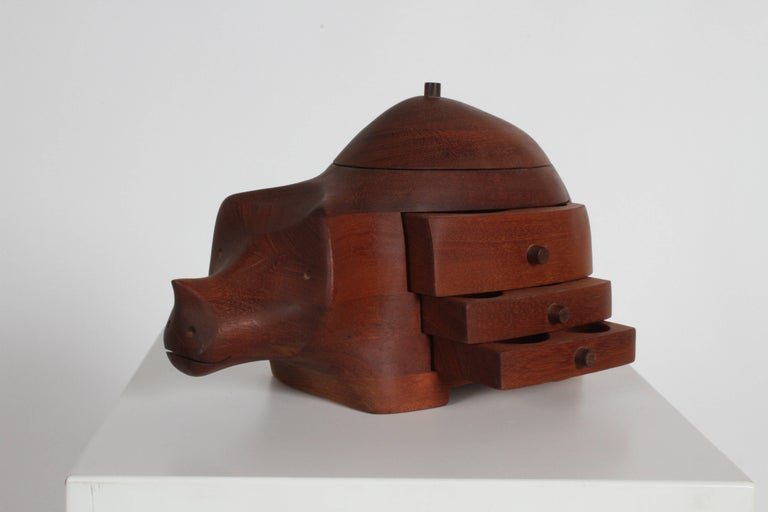 Mid-Century Modern artist Deborah D. Bump mahogany rhino jewelry or trinket box, signed Deborah D. Bump Maker 1978. This can ship UPS.