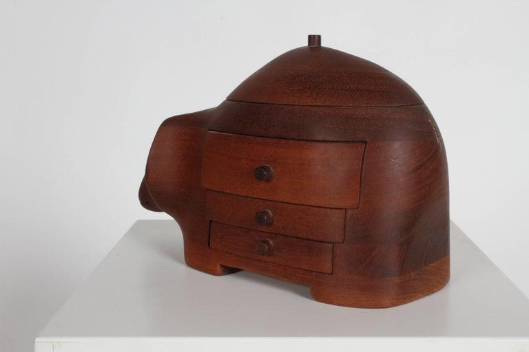 Mahogany Deborah D. Bump Rhino Jewelry Trinket Box For Sale