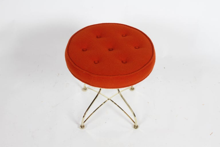 Pair of Hollywood Regency Round Tufted Brass Base Stools For Sale 1
