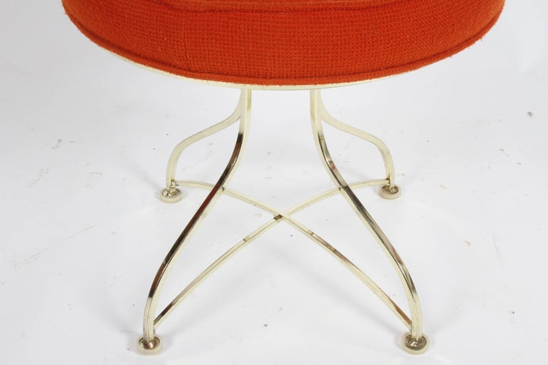 Pair of Hollywood Regency Round Tufted Brass Base Stools In Good Condition For Sale In St. Louis, MO