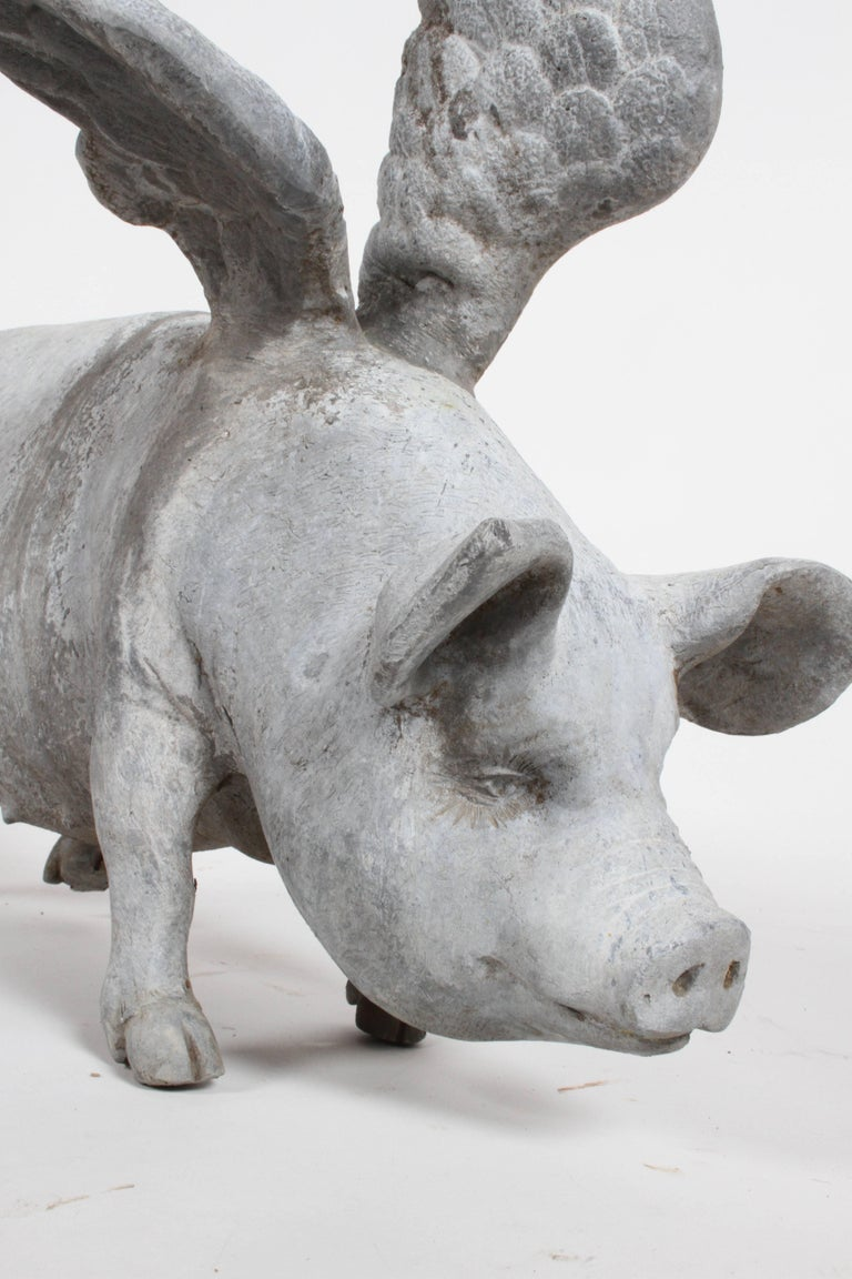 Antique Lead English Flying Pig Garden Ornament For Sale 5