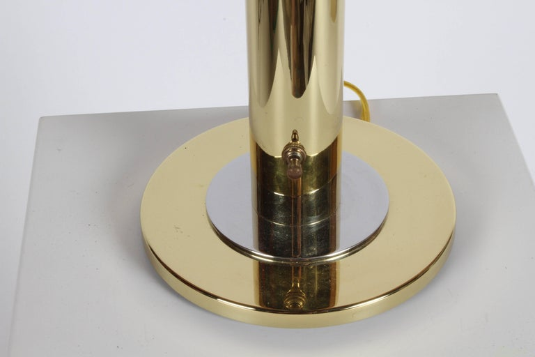 American Pair of Nessen NT754 Polished Brass and Chrome Table Lamps For Sale