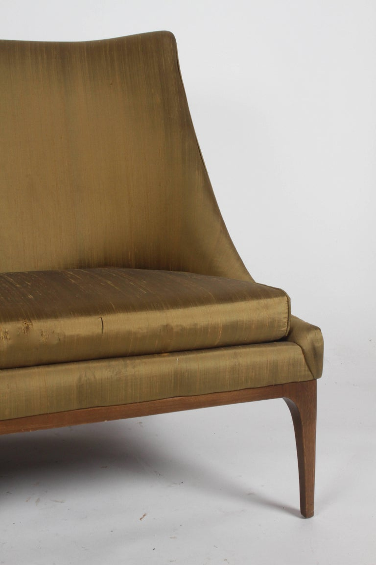 Pair of Lawrence Peabody for Richardson Nemschoff loveseats, settees or sofas in original silk upholstery. Upholstery and foam are in need up updating. Rare to find a matching pair. Measure: Seat 16.5