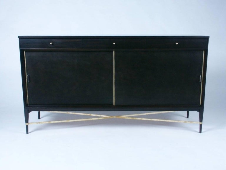 American Paul McCobb for Calvin Sideboard with Brass X-Stretcher For Sale