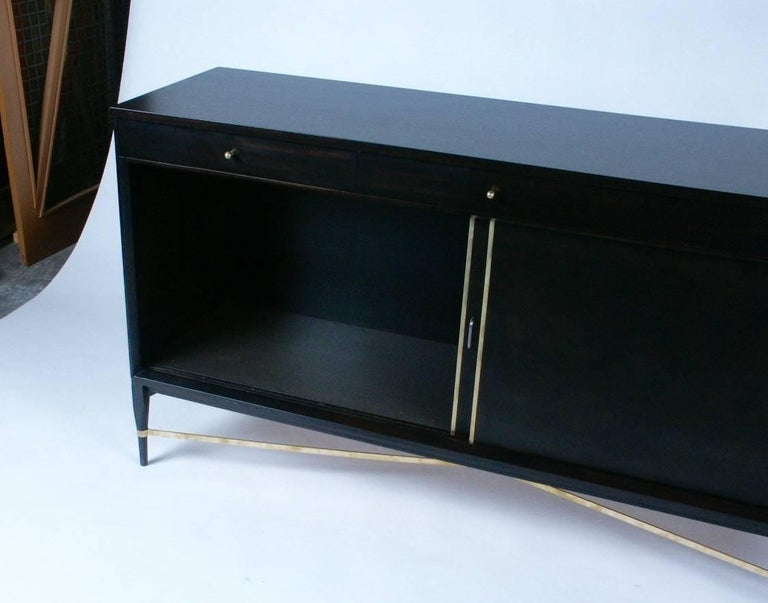 Polished Paul McCobb for Calvin Sideboard with Brass X-Stretcher For Sale