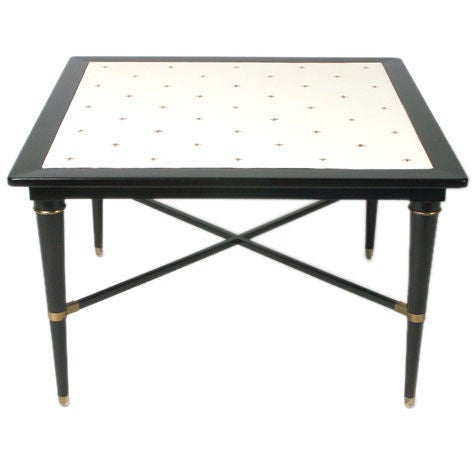 Tommi Parzinger Style Embossed Leather Top Table with X-Base