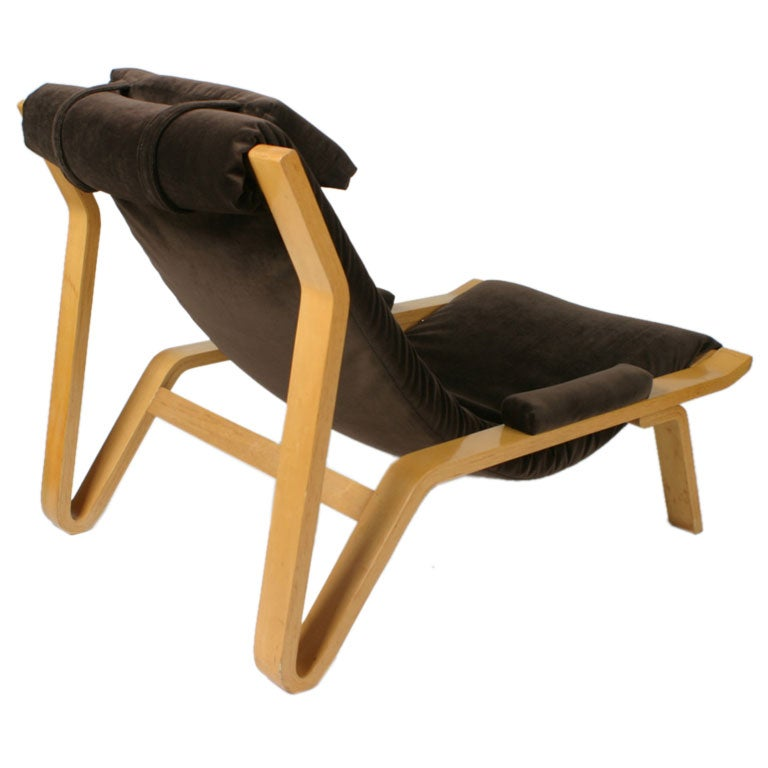 Rare pair of Harvey Probber sling chairs. This design was selected for by the Museum of Modern Art in 1948 for their good design exhibit. Bentwood frame with new chocolate brown velvet upholstery. Only one has been reupholstered. Headrest cushion is