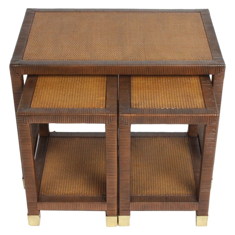 Billy Ballwin for Bieleky Bros. Rattan/Cane Nesting Tables For Sale