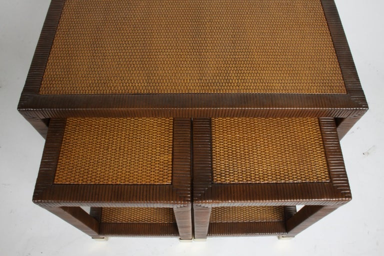 Hollywood Regency Billy Ballwin for Bieleky Bros. Rattan/Cane Nesting Tables For Sale