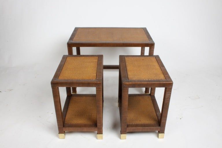 American Billy Ballwin for Bieleky Bros. Rattan/Cane Nesting Tables For Sale