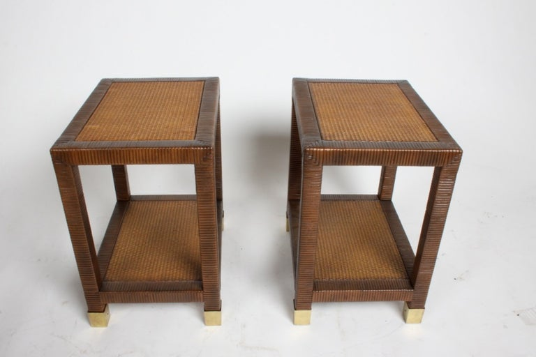 Billy Ballwin for Bieleky Bros. Rattan/Cane Nesting Tables In Good Condition For Sale In St. Louis, MO