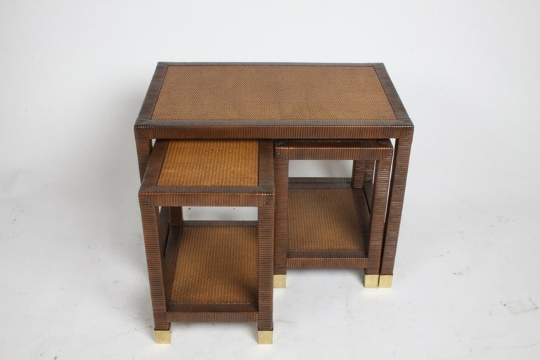 Late 20th Century Billy Ballwin for Bieleky Bros. Rattan/Cane Nesting Tables For Sale