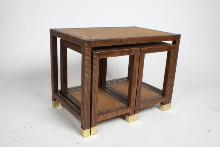 Brass Billy Ballwin for Bieleky Bros. Rattan/Cane Nesting Tables For Sale