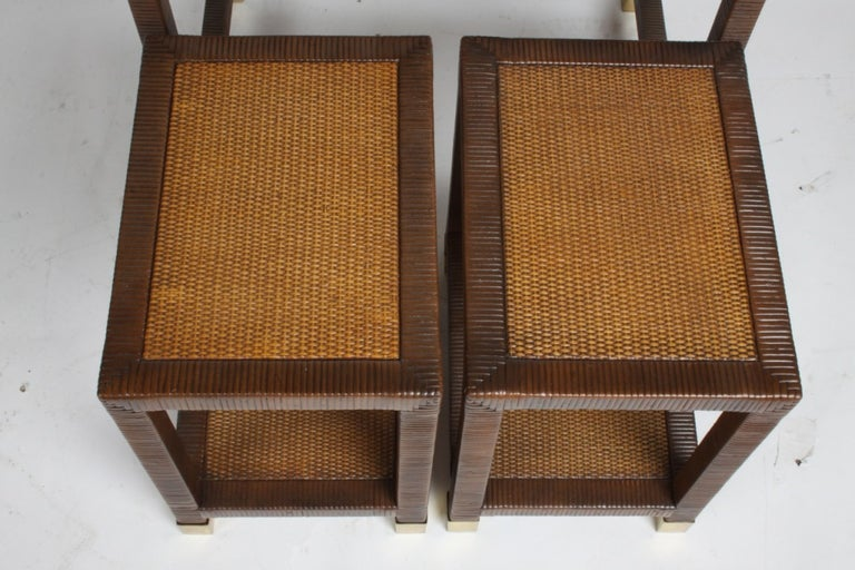 Billy Ballwin for Bieleky Bros. Rattan/Cane Nesting Tables For Sale 1