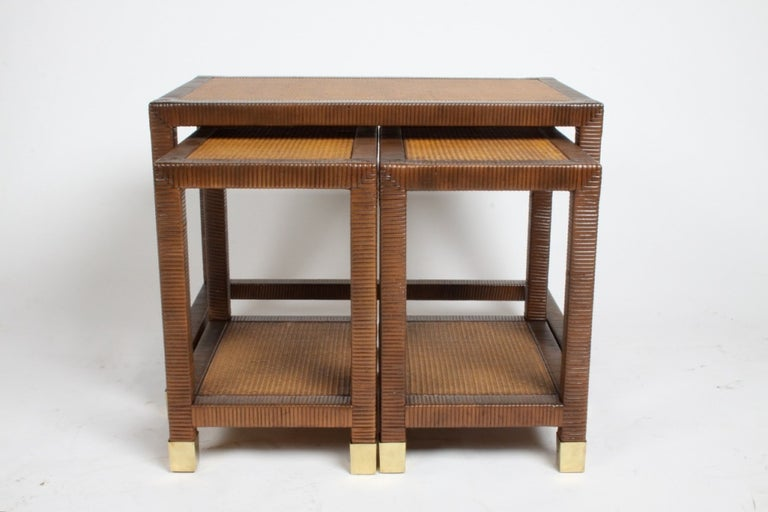 Billy Ballwin for Bieleky Bros. Rattan/Cane Nesting Tables For Sale 2