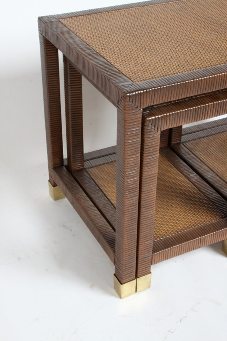 Billy Ballwin for Bieleky Bros. Rattan/Cane Nesting Tables For Sale 3