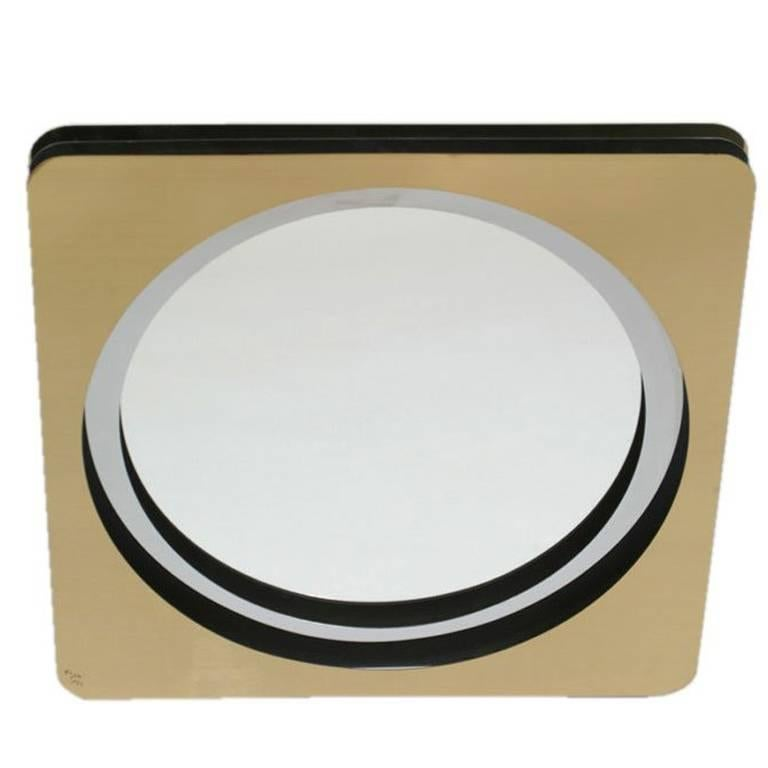 Curtis Jere Mirror in Brass and Chrome Signed C. Jere '77 For Sale